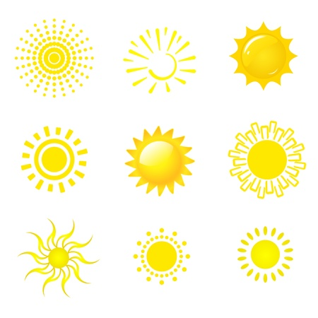 Set of icons of sun