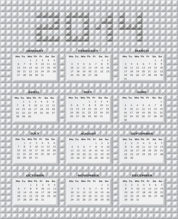 Calendar for 2014 on abstract background of grey prism Stock Vector - 18601756