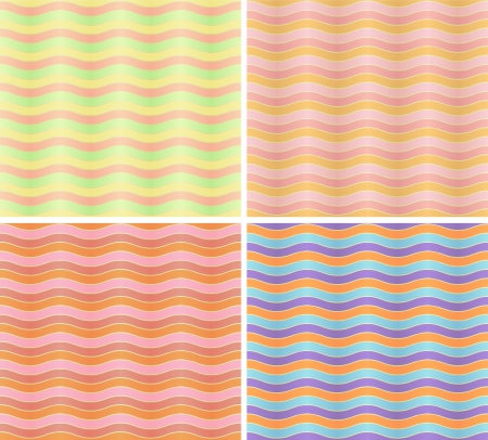 Set of four seamless patterns with colored wavy lines Vector
