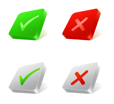 Set of 3d square web buttons with check and cross marks Stock Vector - 19086309