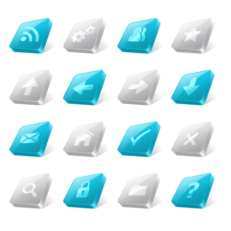 Set of 3d square buttons with web icons Illustration