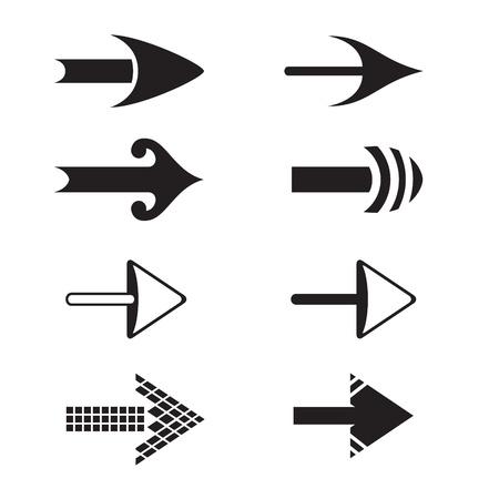 Set of black simple arrows Çizim