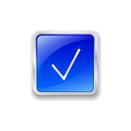 Blue glass button with chrome border and check mark icon Vector
