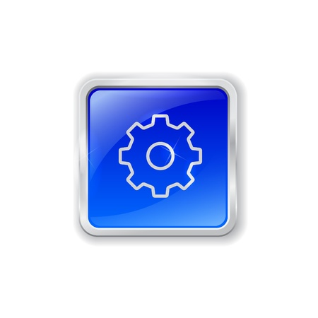 Blue glass button with chrome border and gear icon Vector