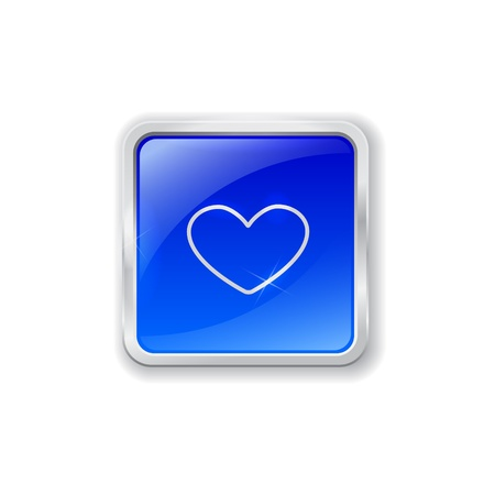 Blue glass button with chrome border and heart icon Vector