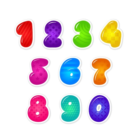 Set of cartoon colorful numbers Vector