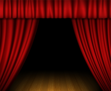 red  open: Red open curtain on wooden stage