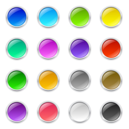 Set of 3d colored round buttons with metal frame and shadow
