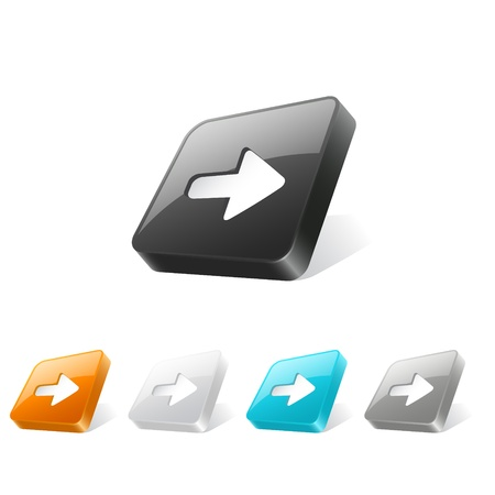 Set of arrow icons on 3d square buttons in different colors Vector