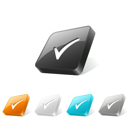 Set of check mark icons on 3d square buttons in different colors Vector