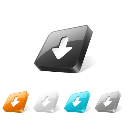 Set of download icons on 3d square buttons in different colors Vector