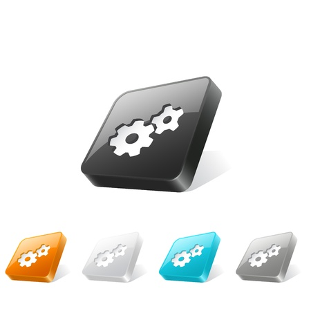 Set of gear icons on 3d square buttons in different colors Vector
