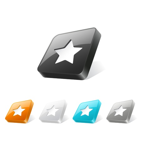 Set of star icons on 3d square buttons in different colors Vector