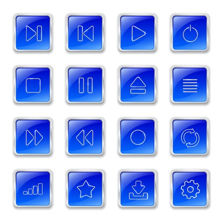 Set of blue glossy buttons with media icons Vector