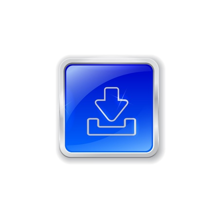 Blue glass button with chrome border and download icon Vectores