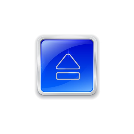 Blue glass button with chrome border and eject icon Vector
