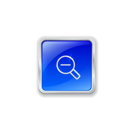 zoom out: Blue glass button with chrome border and zoom out icon Illustration