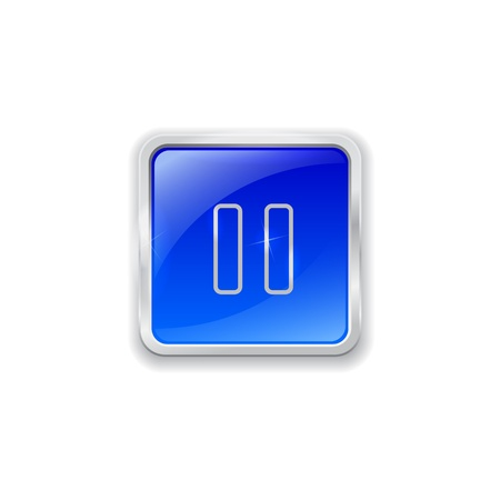 Blue glass button with chrome border and pause icon Vector