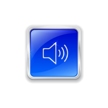 Blue glass button with chrome border and speaker icon Illustration