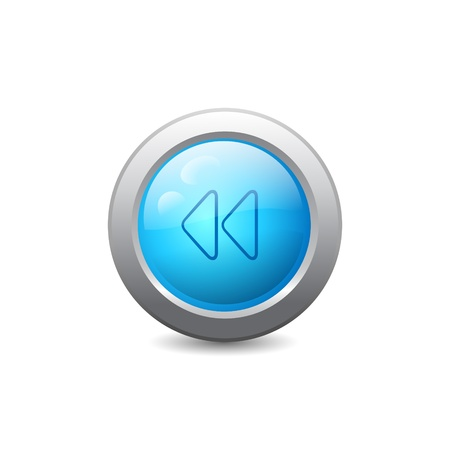 3d blue round web button with backward media icon Vector