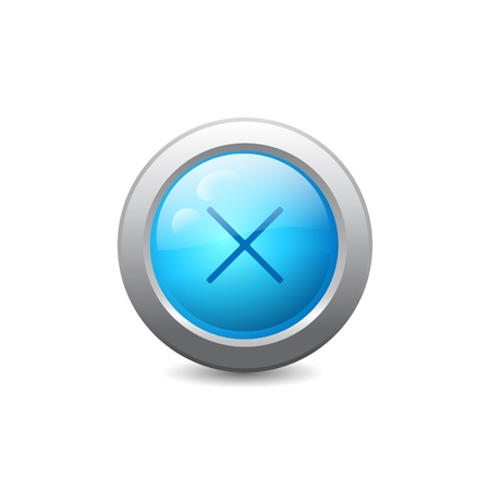 3d blue round web button with cross Stock Vector - 22172548