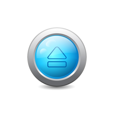 3d blue round web button with eject icon Vector