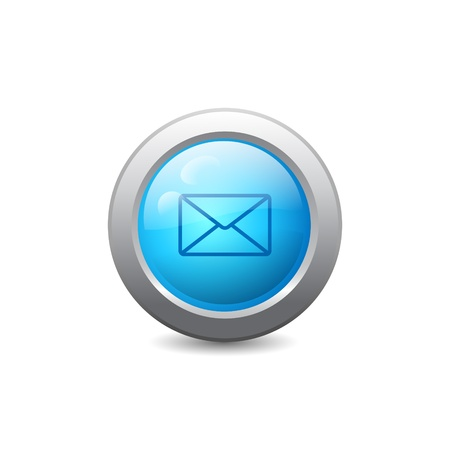 3d blue round web button with email icon Vector