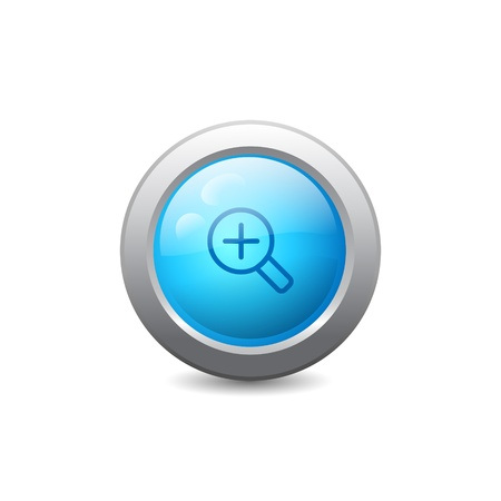 zoom in: 3d blue round web button with zoom in icon