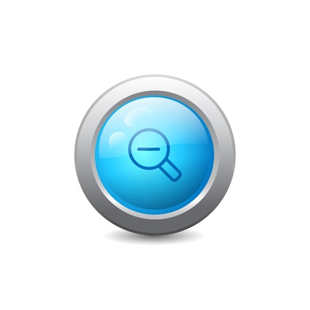 3d blue round web button with zoom out icon Vector