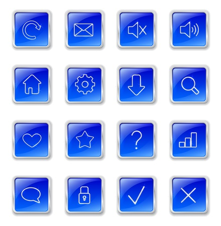 Set of blue square buttons with metallic web icons Vector