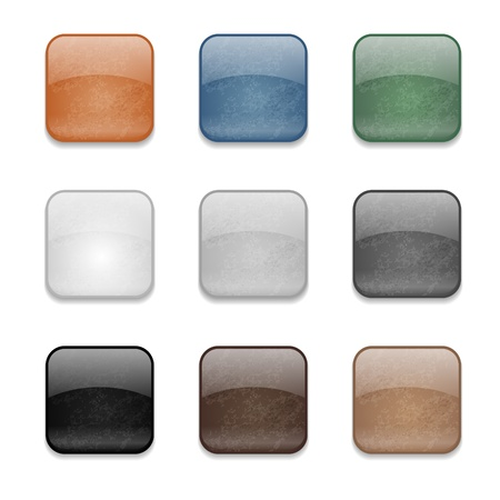 Set of web square glossy buttons with damaged surface Vector