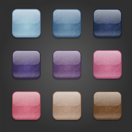Set of web square glossy buttons with damaged surface
