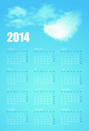 Calendar for 2014 year with illustration of white fluffy feather