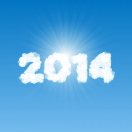 2014 shaped clouds in the blue sky with bright sun behind it