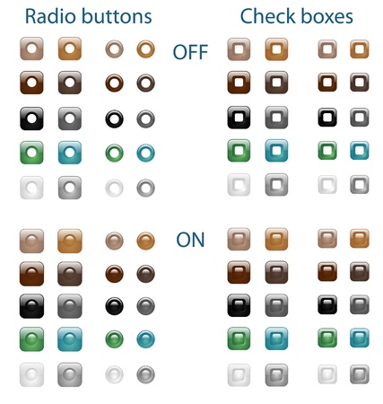 Set of glossy web radio buttons and check boxes Stock Vector - 22172637