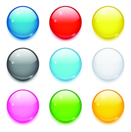 Set of nine 3d colored glossy round buttons Çizim