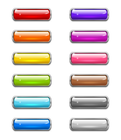 Set of colored shiny buttons in the shapes of rounded rectangle with metal border Vector