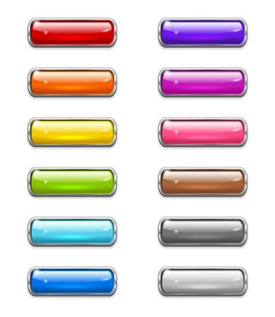 Set van gekleurde glanzende knoppen in de vorm van afgeronde rechthoek met metalen rand Stock Illustratie