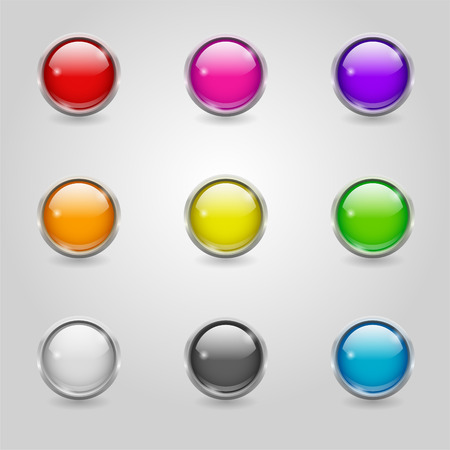 Set of glossy colored round buttons with metallic border Vectores