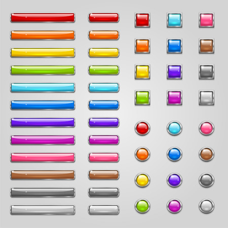 Set of glossy colored round, rectangle and square buttons Illustration