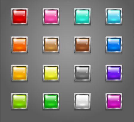 shiny buttons: Set of shiny colored square buttons Illustration