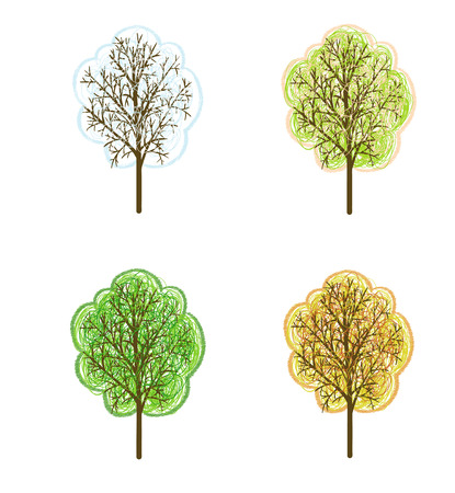 Set of four hand drawn season trees Vector