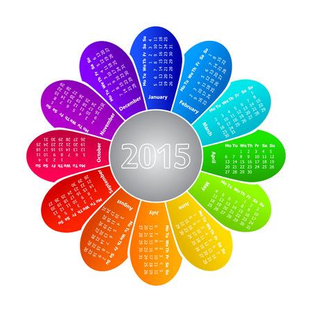 2013 calendar on rainbow flower background Vector