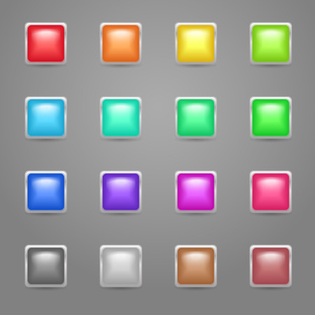 Set of bright colorful glow square buttons with metallic frame Vector