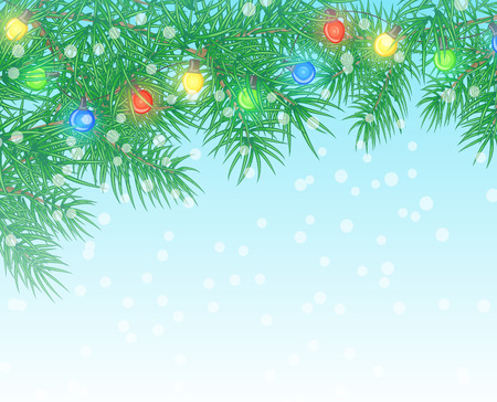 pine branch: Christmas background with pine branch and light bulbs Illustration