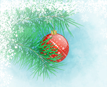 Winter frozen background with red christmas ball Vector