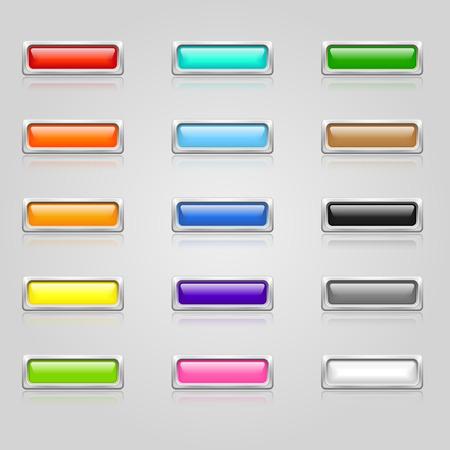 Jeu de couleurs 3d buttons Web avec bordure chromée Banque d'images - 35498330