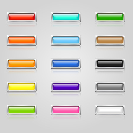 Set of colorful 3d web buttons with chrome border
