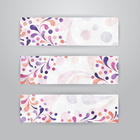 Set of three horizontal banners with plant abstract pattern Vector