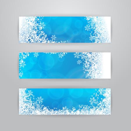 flocon de neige: Ensemble de trois banni�res horizontales avec des flocons de neige sur fond bleu floue